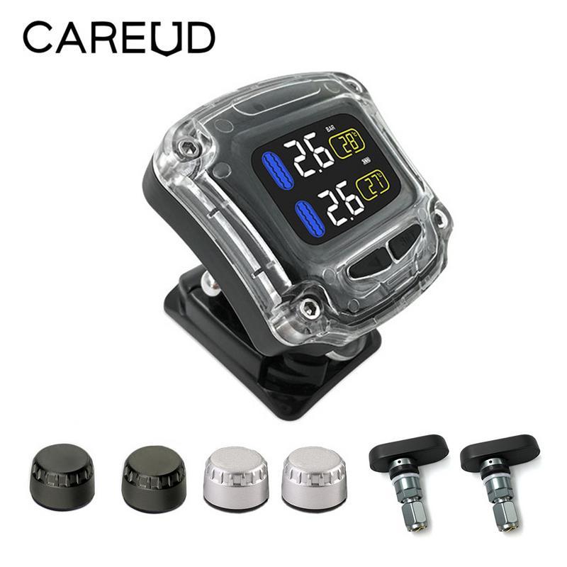 CAREUD Waterproof M3 B Wireless Universal 2 External Internal Sensors Wireless Motorcycle TPMS Tire Pressure Monitoring System