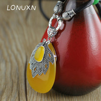 High quality 925 sterling silver necklace yellow Chalcedony natural semi precious stones leaves shape big water drop pendant