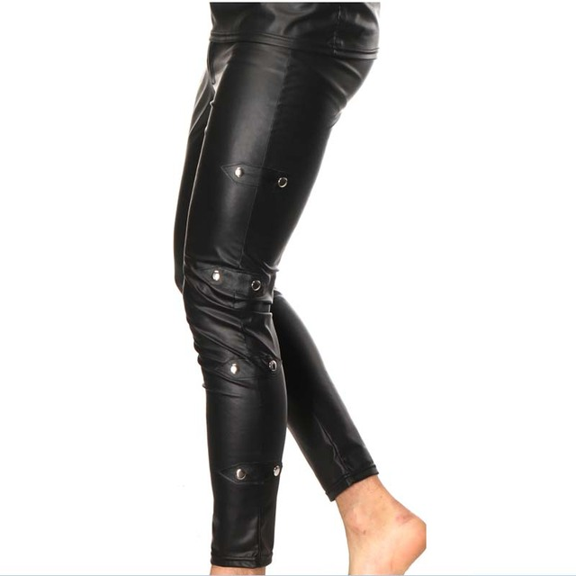 Mens Glossy Patent Leather tights Pants Trouser Nightclub Casual Punk Black HOT