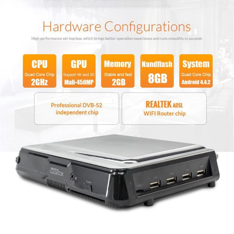 Amlogic S912 Android TV Box 2G RAM 8G ROM DVB-S2 décodeur avec télécommande IR DVB-S2 décodeur, Android Smart TV Box