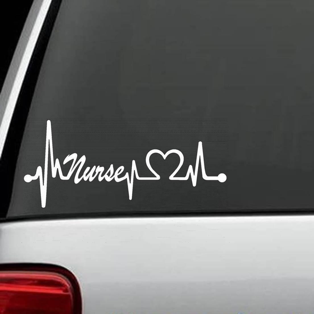 Nurses Heartbeat Lifeline Decal Sticker Car Laptop Motorcycle Stickers  15cm