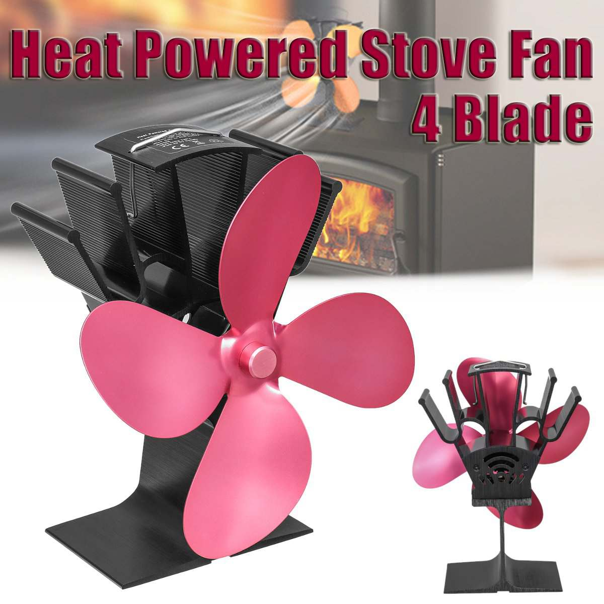 Newest 4 Blades Fireplace Heat Powered Wood Stove Fan Log Wood Burner Eco Friendly Quiet Fan Home Efficient Heat DistributionNewest 4 Blades Fireplace Heat Powered Wood Stove Fan Log Wood Burner Eco Friendly Quiet Fan Home Efficient Heat Distribution