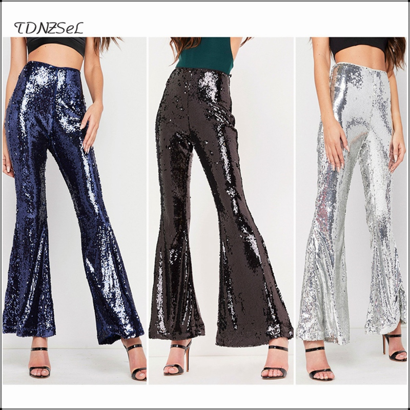 Sexy Sequined Glitter Skinny Flare   Pants   Women High Waist Zipper Bodycon Wide Leg Trousers Nightclub Party New Shiny Long   Capris
