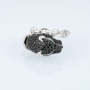 Image 2 - SANTUZZA Silver Ring For Women 925 Sterling Silver Innovative animal Leopard Black Spinels Ring Unique Party Fashion Jewelry