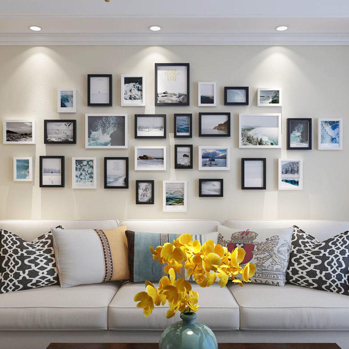 Vintage noir blanc Photo cadre mural en bois famille cadre Photo ensembles Art photos affichage pour couloir salon mur décor