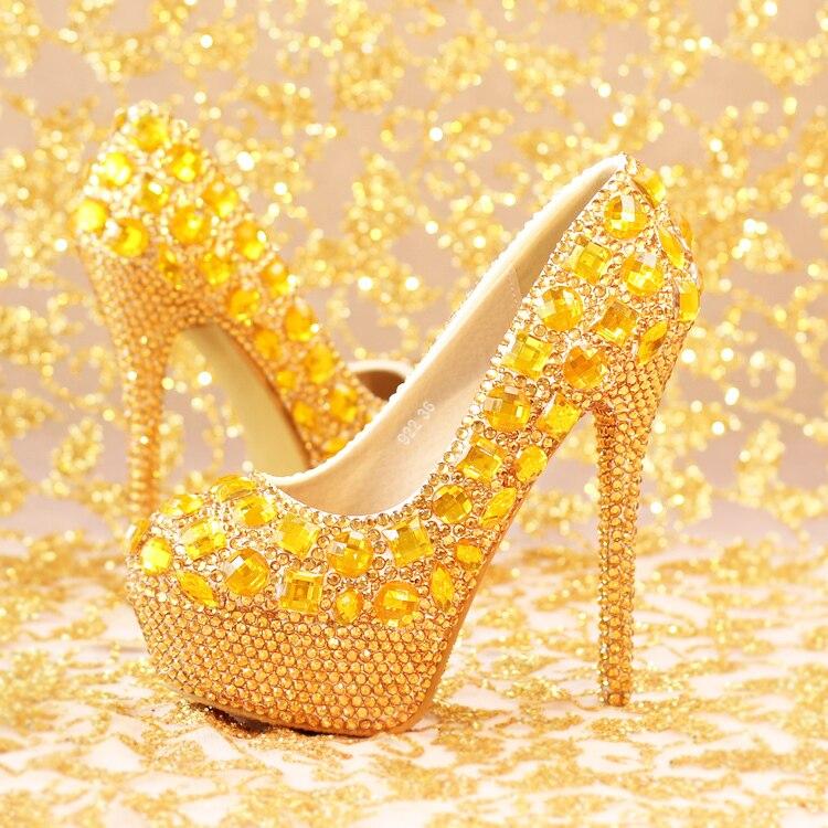B Étanche Offre Diamant Partie Mariage 12cm D'or Soirée Talons La Chaussures Mariée De Robe Luxe 14cm Spéciale 14cm Heel A Super Femmes Pour Grande B Ronde Hauts zqYUwS