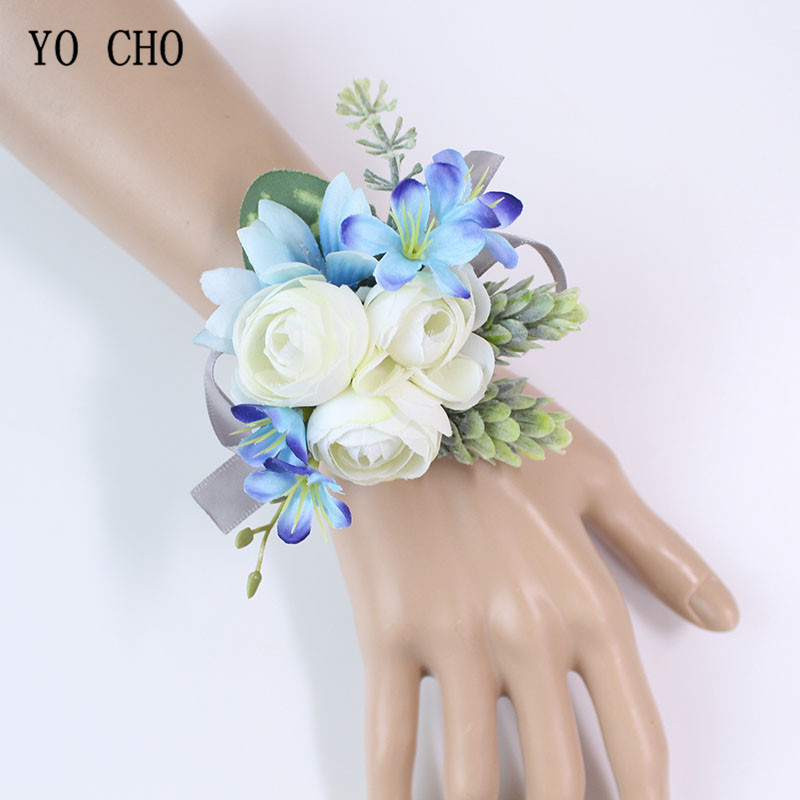 YO CHO White Silk Roses Wedding Flowers Wrist Corsage Bracelet Bridesmaid Blue Groom Boutonnieres Men Marriage Wedding Supplies