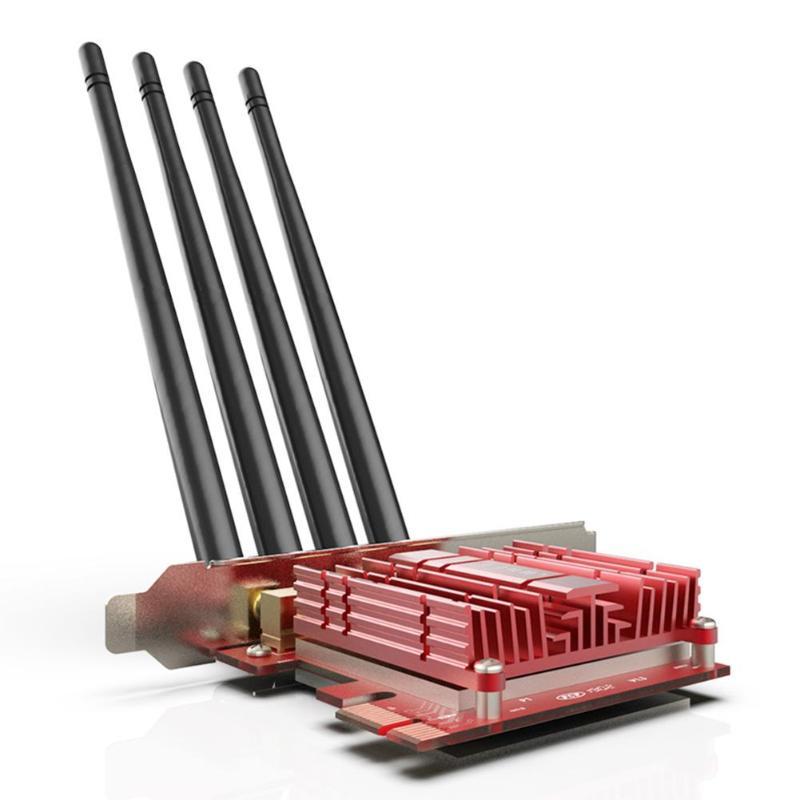 Carte réseau sans fil PCI-E 2.4/5 GHz double bande AC 1900 Mbps PCI Express adaptateur WiFi de bureau avec antennes 4 * 5dBi pour la victoire - 3