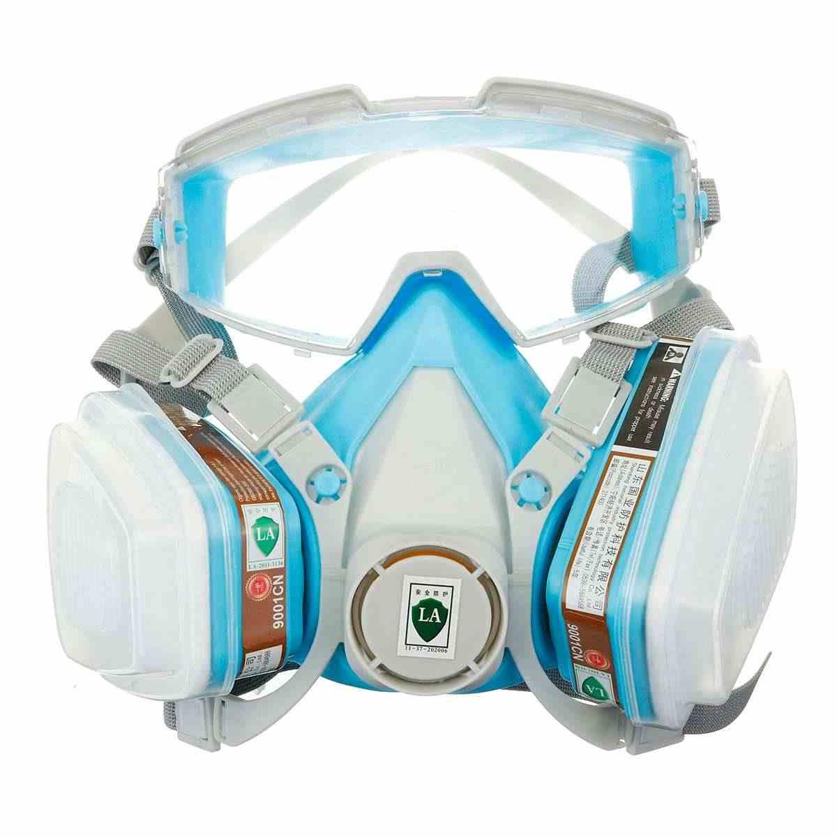 سيليكون كامل الوجه تنفس قناع واقي من الغاز نظارات شاملة غطاء الطلاء الكيميائية المبيدات قناع مكافحة الغبار قناع واقٍ