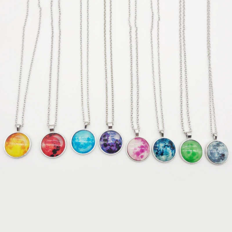 Светящиеся украшения галактика планета темная Луна стеклянная Кабина ожерелье кулон модный тренд 2019 светящиеся украшения вечерние украшения для девочек подарок