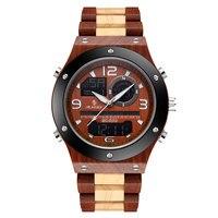 SIHAIXIN Wood Watch Men LED Digital Dual Display Watch Waterproof New Fashion Man Sports Luminous Indication Clock Male Relogio