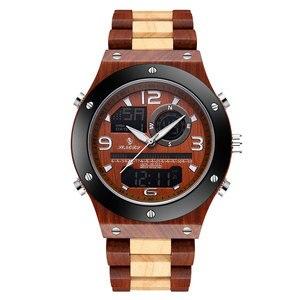 SIHAIXIN Wood Watch Men LED Di
