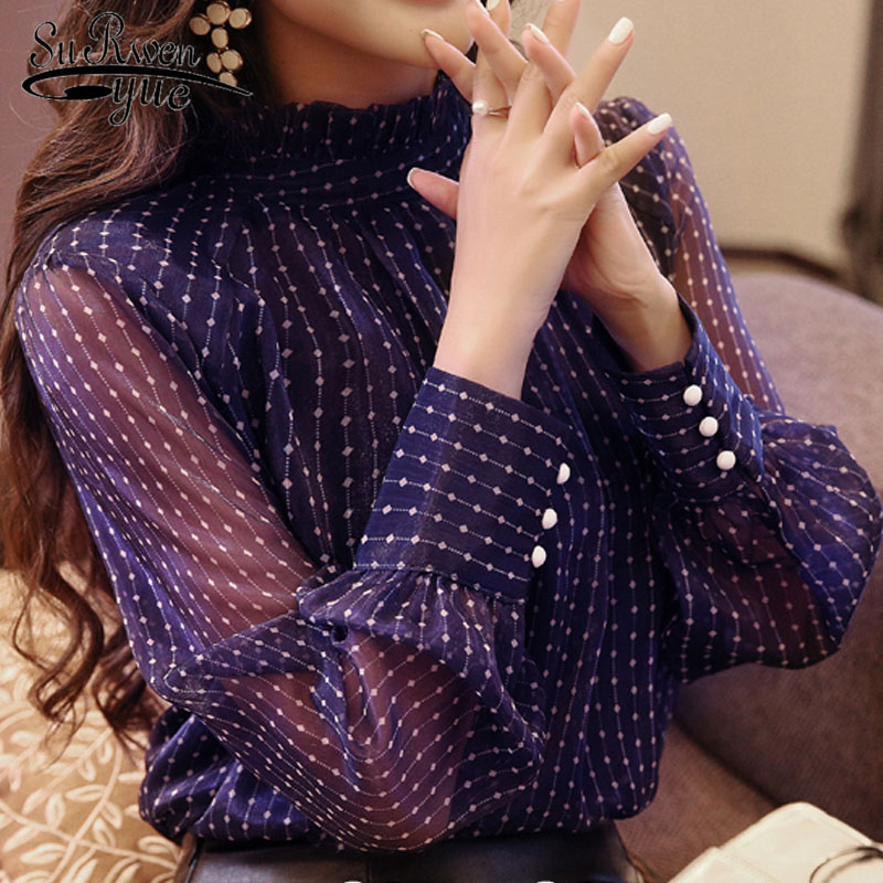 New Arrived 2019 Spring Blouse Women Long Sleeved Shirt Female Fashion Loose Blouse Office Lady Clothing D468 30
