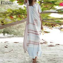 2019 ZANZEA Women Bohemian Long Sundress Ladies Striped Print Maxi Dress Vestidos Casual Baggy Robe Femme Sarafans Beach Dresses
