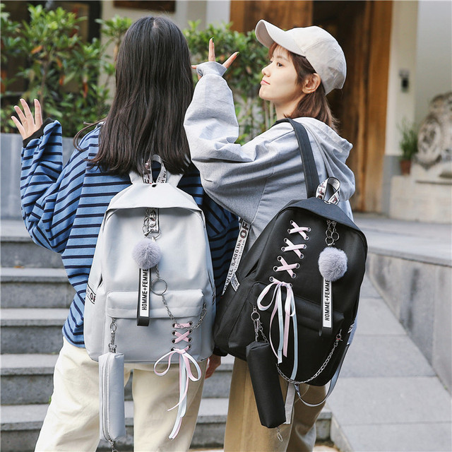 Chain USB Backpack Women Canvas 3pcs/set Women Backpack Teenager Girls Backpacks Shoulder Bag Female Student School Bags Tassel 5