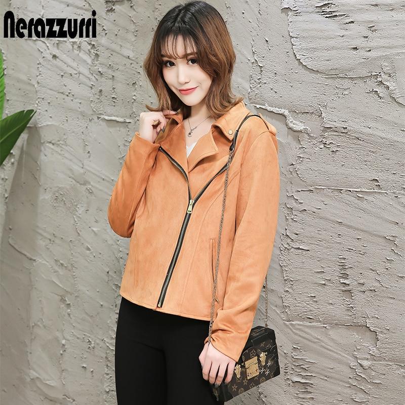 nerazzurri brown   suede   jacket women 2019 black beige plus size ladies faux   leather   coat zipper short pu   leather   biker jacket 5xl