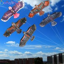 1,1 м плоский Орлиный змей с 30 метровой линией воздушного змея, Детские летающие воздушные змеи в форме птиц, ветрозащитные уличные игрушки, садовая скатерть, игрушки для детей, подарок