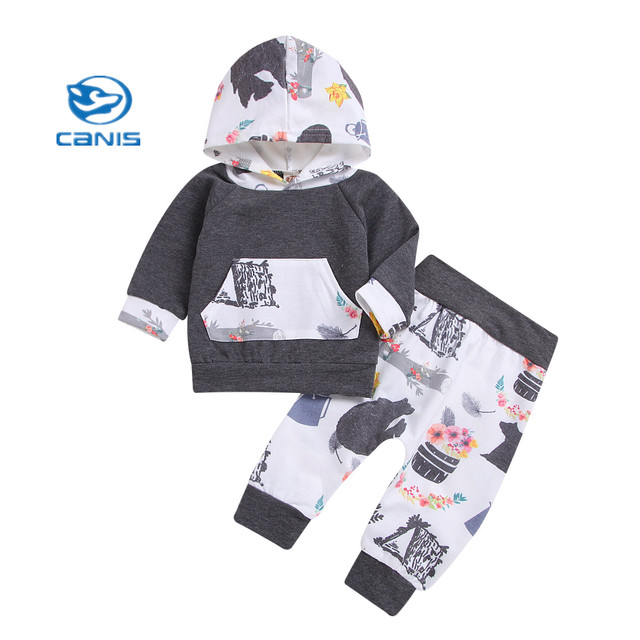 1765c6739fb1 2019 Fashion Baby 2Pcs Toddler Baby Boy Long Sleeve Hooded Patchwork ...