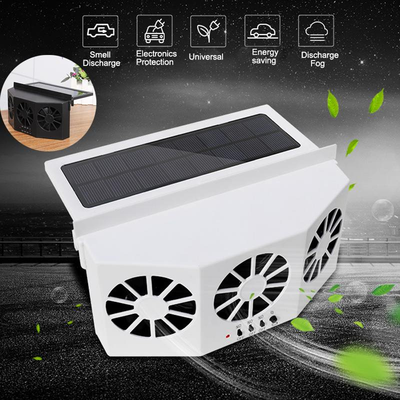 3 Cooler Car Solar Powered Fan Energy Cooling Vent Exhaust Fan Portable Energy saving 3rd Generation Auto Window Cooling Fan