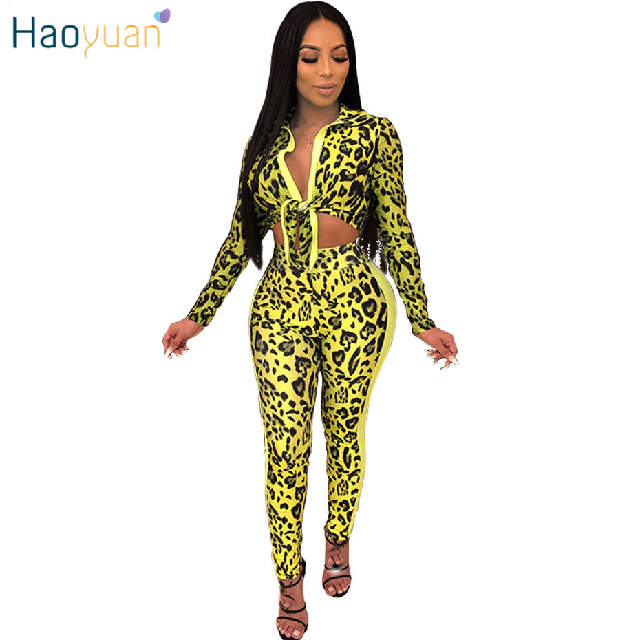 HAOYUAN Snake Skin Leopard Print 2 Piece Set Women Summer Clothes Crop Top And Pants Two Piece Matching Sets Sexy Club Outfits