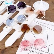 Zilead Pearl Vintage Round Sunglasses Kids Fashion Metal Cute Retro Children Sun Glasses For Boy Girls UV400 Infant Eyewear
