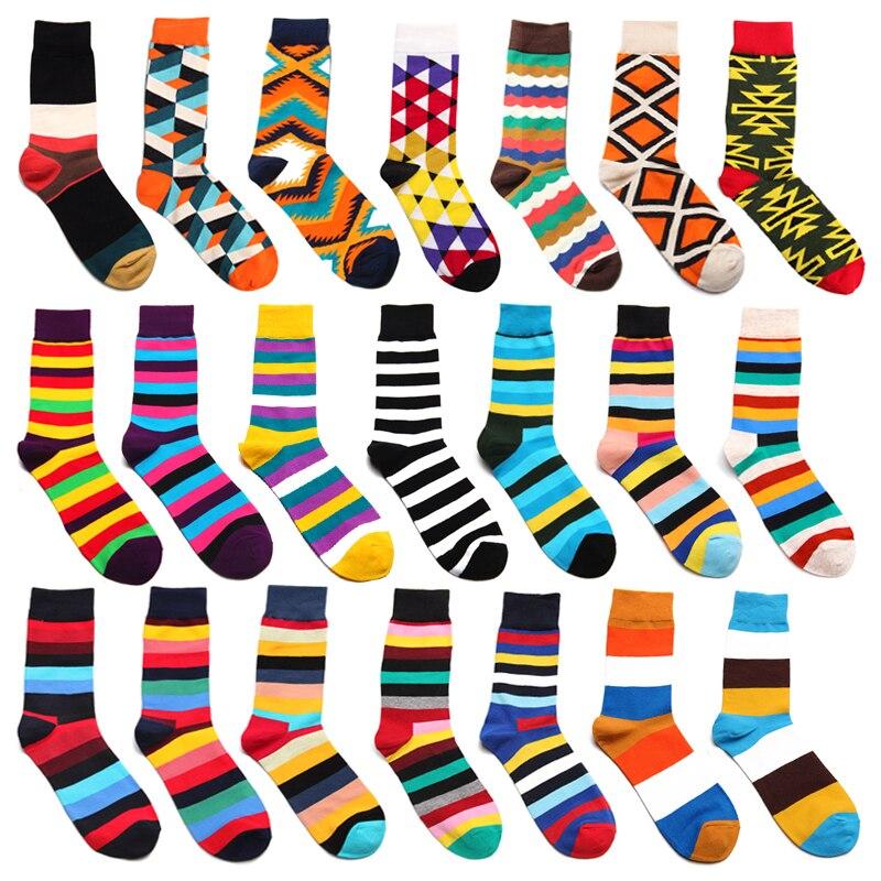 Armkin Casual Harajuku Männer Socken Gekämmte Baumwolle Glücklich Lustig Socken Vintage Diamant Muster Regenbogen Socken Für Weihnachten Geschenke Unterwäsche & Schlafanzug