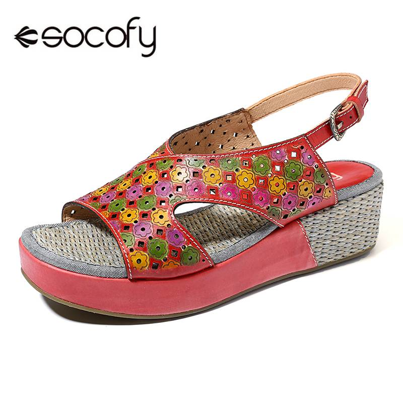 SOCOFY Candy Color Genuine Leather Hollow Flowers Pattern Platform Buckle Strap Sandals Retro Summer Shoes New Ladies Shoes 2019