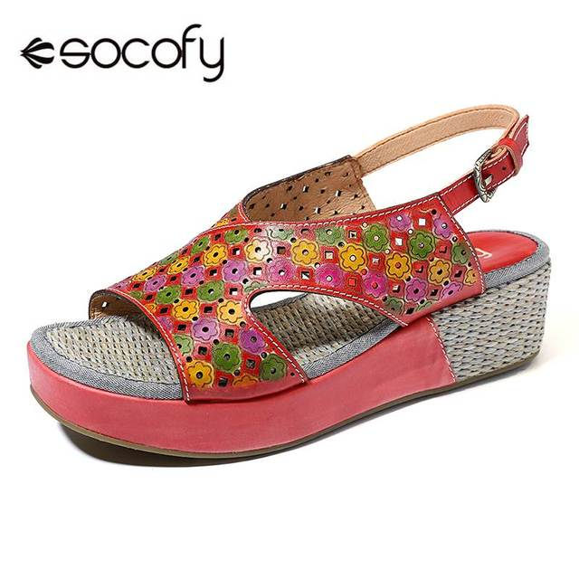 f22d1a312e2 SOCOFY Candy Color Genuine Leather Hollow Flowers Pattern Platform Buckle  Strap Sandals Retro Summer Shoes New Ladies Shoes 2019