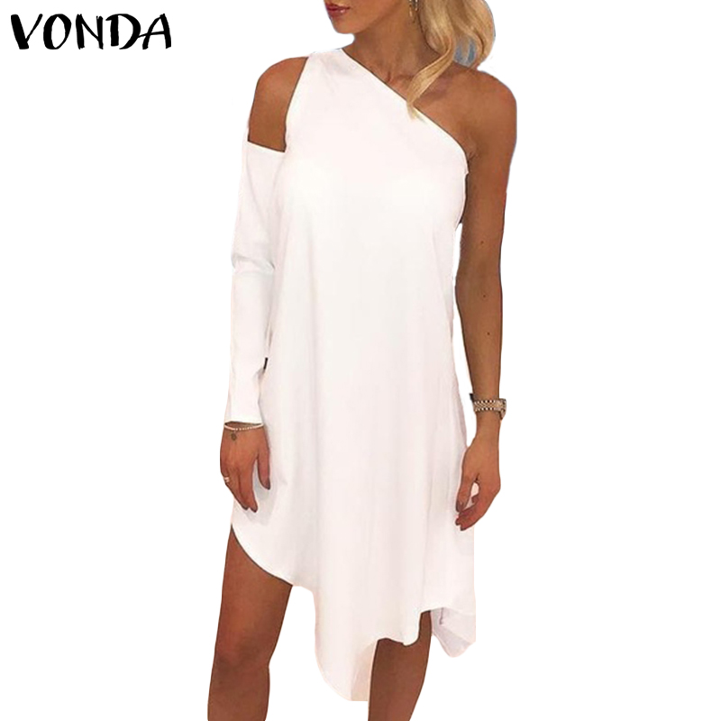 VONDA Women Dress Spring 2019 Sexy Long Sleeve Off Shoulder Sexy Irregular Mini Dresses Female White Black Vestidos Plus Size