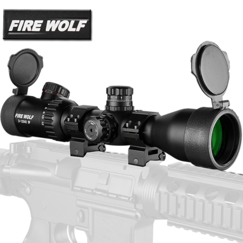 3-12x42 SF Mil-Dot Reticle Red Green illumination Magnification Tactical Rifle Scope Adjustable Objective Lens Airsoft