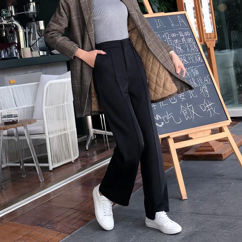 2019 Spring Wide Leg Pants Women Casual Trousers ankle length pant Ladies streetwear female pants black