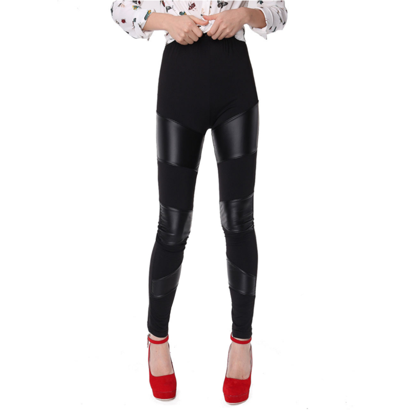 Women Sexy Stretch Skinny Leggings Pants Stripes Patchwork Casual Faux Leather Trousers Spring Autumn Fitness Black Long Pants