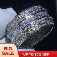 Роскошное роскошное кольцо на палец серебряного цвета 7 строк AAAAA Cz камень большое обручальное кольцо для женщин Свадебные модные украшения