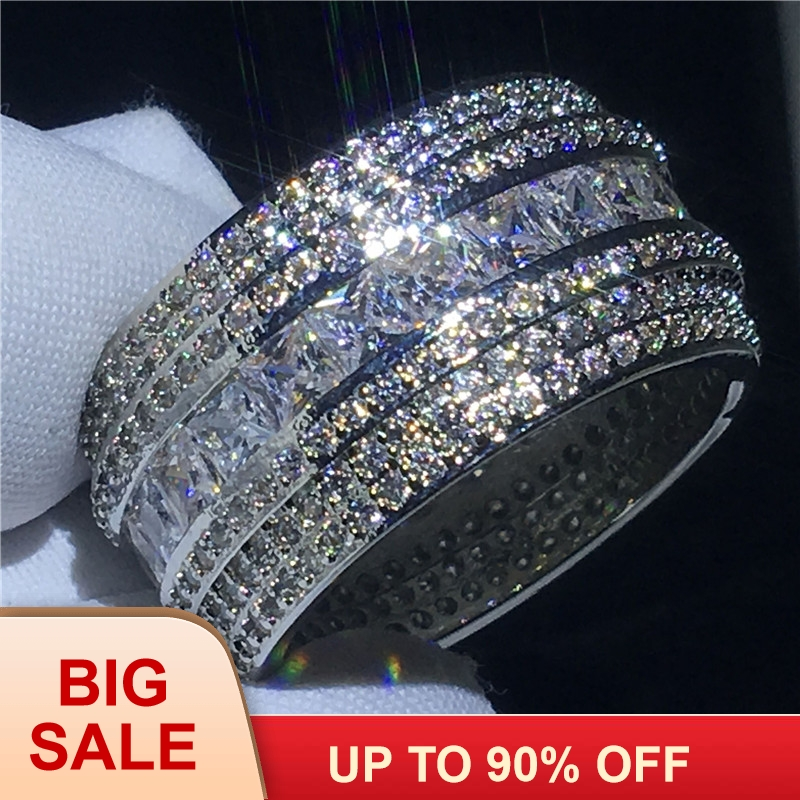 Luxury Luxury Finger ring Silver color 7 Rows AAAAA Cz Stone Big Engagement wedding band ring for women Bridal Fashion JewelryLuxury Luxury Finger ring Silver color 7 Rows AAAAA Cz Stone Big Engagement wedding band ring for women Bridal Fashion Jewelry