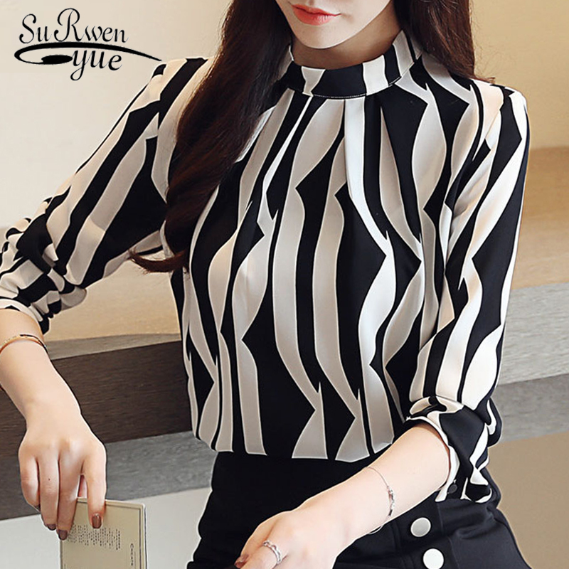 Fashion Woman Blouse 2019 Striped Chiffon Blouse Shirt Long Sleeve Women Shirts Office Work Wear Womens Tops And Blouses 0941 60