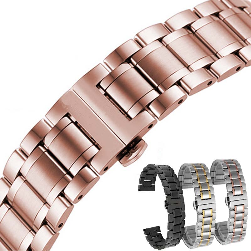 Rose gold Black Solid strap 14 16 17 18 19 20 22 24 mm Stainless Steel Watch band Strap Bracelet Watchband Wristband Butterfly