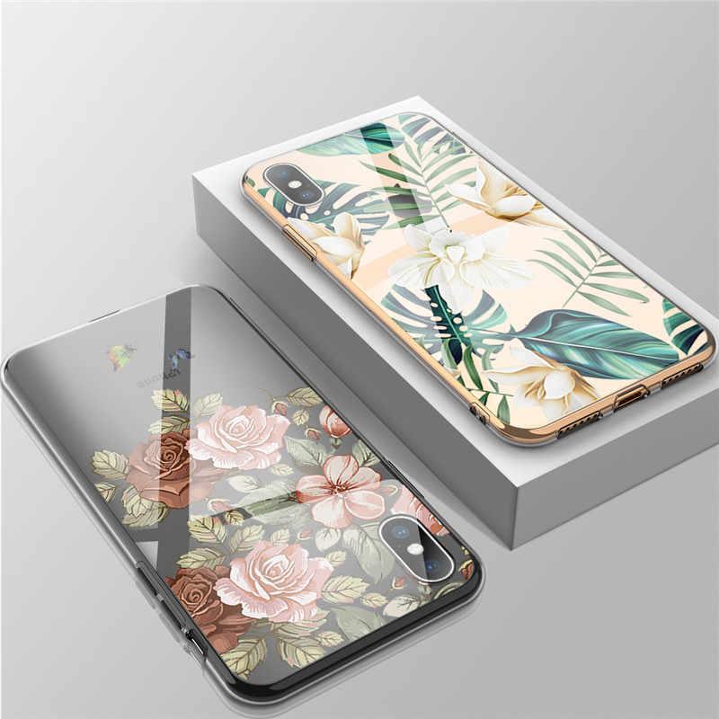 USLION Transparente Flor Folhas Caso de Telefone Para o iphone X XS XR Xs Max Macio TPU Claro Caso Capa Para o iphone 7 8 6 6 s Plus 5 5S SE