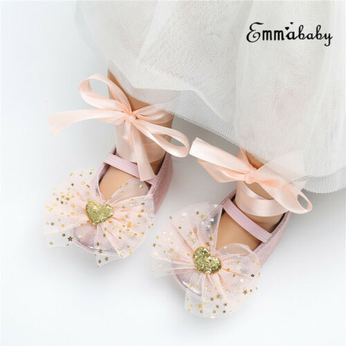 Infant Newborn Baby Girl Princess Non-Slip Lace Shoes Baby Bowknot Shoes 0-18M