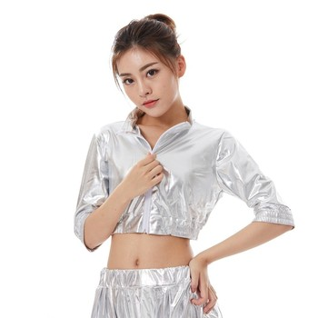 Heroprose New Fashion Kids Adult Tops Jazz DS Wear Silver Bright Hip Hop Dance Stage Performance Coat Ultra-short Slim Jacket
