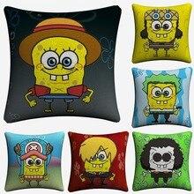 SpongeBob One Piece Cosplay Cartoon Decorative Linen Cushion Cover For Sofa Chair 45x45cm Throw Pillow Case Home Decor Almofada