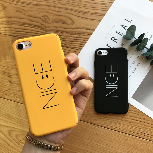 size 40 a5d04 3e978 US $4.9  SZYHOME Phone Cases For iPhone 6 6s 7 Plus Case Yellow Black NICE  Letter Plastic For Apple iPhone 7 Plus Mobile Phone Cover Case-in ...