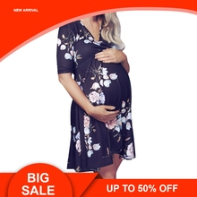 Summer Women Pregnant Floral Midi Tea Dress Maternity Photography Nursing Breastfeeding