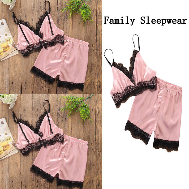 Pajamas Sets For Women Lace Satin Pijama Summer Nightwear Sexy Lingerie Pajamas Pyjamas Women Homewear