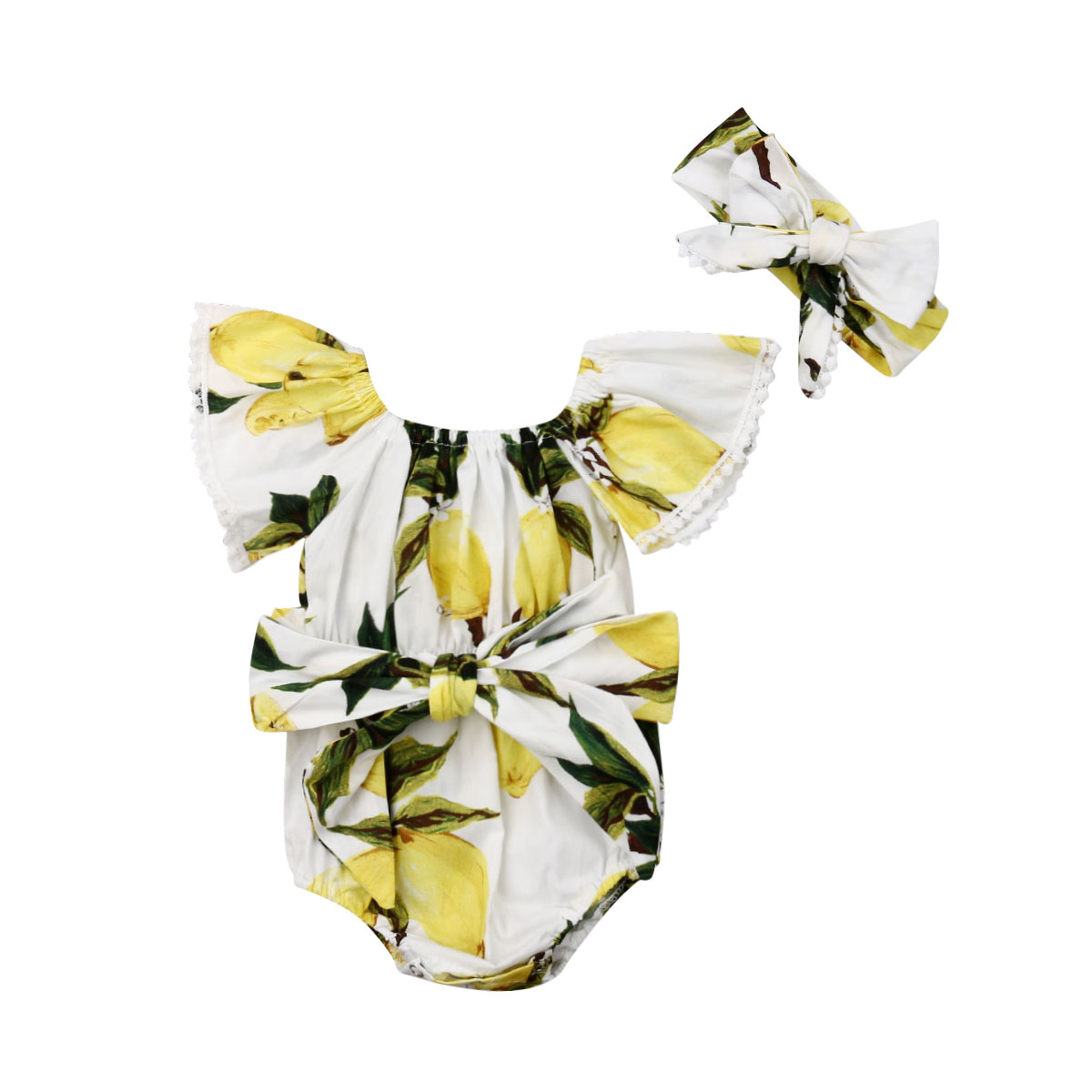 2PCS Infant Baby Girl Clothes Body Baby Belt Lemon Print Off-Shoulder   Romper   Bow Headband Sunsuit Outfit 0-18M Set