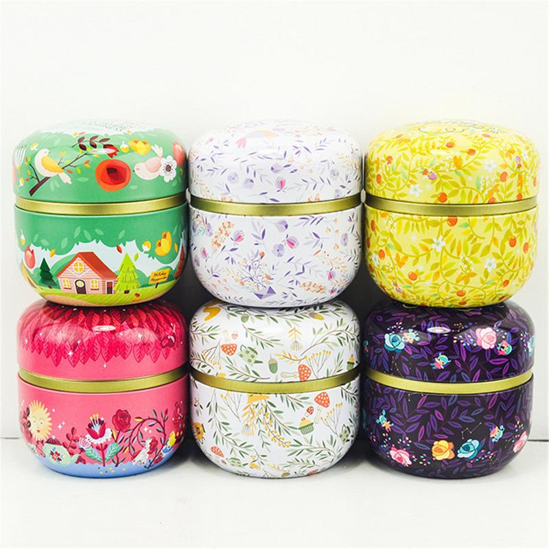 Double - Cover Capsules Flower Tea Can Food Sundries Candy Storage Tank Tinplate Biscuits Tin Box Storage Box Home Decoration