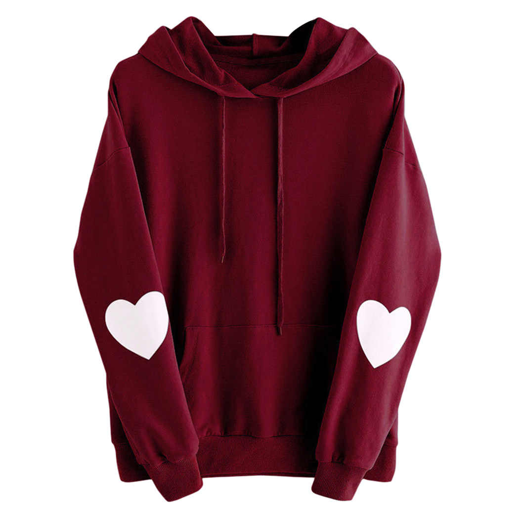 ... Harajuku Pink Hoodies Women Show Love Heart Printed Hooded Sweatshirts  Oversize Tops Ladies Cat Ear Pullover ... 66502feba8f0