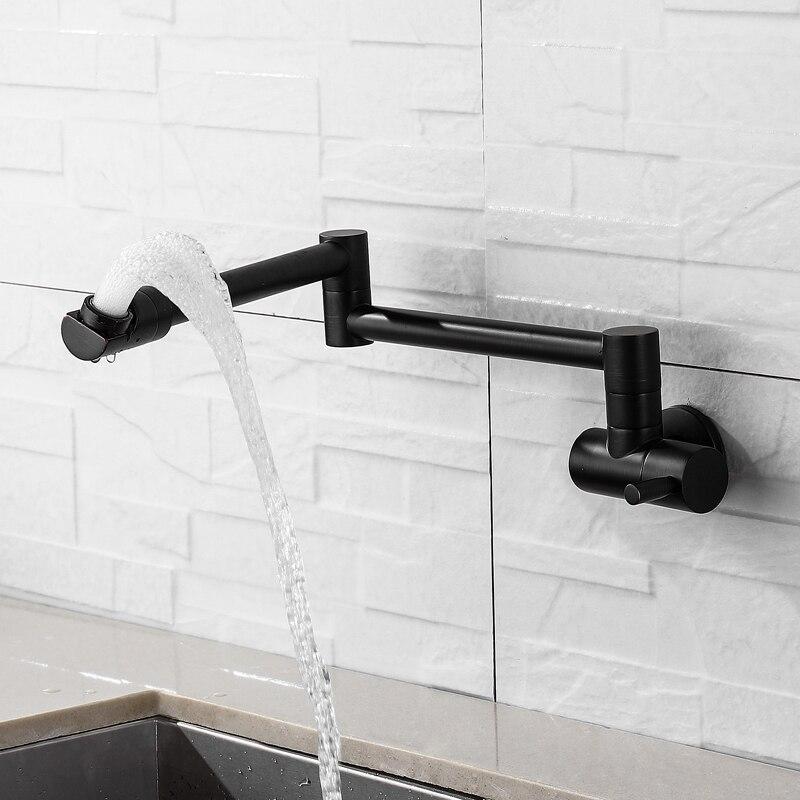 Livraison gratuite 360 degrés rotatif noir mural unique robinet d'eau froide en laiton massif pivotant pliant cuisine évier bassin robinet