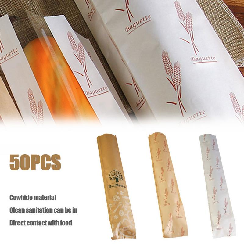 50pcs Long Baguette Biscuits Packaging Wrapping Supplies For Party Wedding Favors Handmade Bread Cookies Gift Kraft Paper Bag