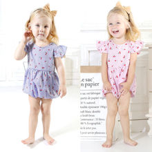 Cherry Fly Sleeve Striped Romper Jumpsuit for Newborn Baby Girl Infant Children Clothes Kid Clothing Autumn Spring Summer