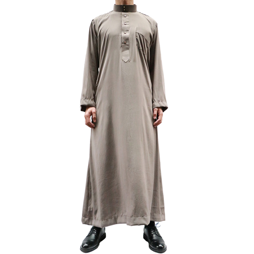 High Quality Saudi Arabia Long Robe for Man Polyester Breathable Button Worship Wear Islamic Muslim Male Jubba Thobe Gown